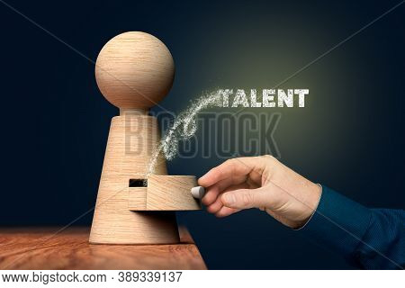 Coach Unlock And Open Hidden Talent - Motivation Concept. Coach (manager, Mentor, Hr Specialist) Ope