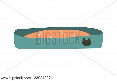 Cat Litter Box, Sand Tray. Vector Illustration. Object Isolated On White Background, Cartoon Style.