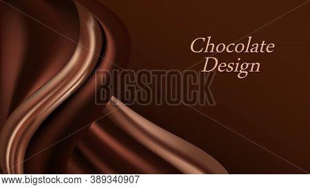 Chocolate Wave Background. Dark Brown Creamy Chocolate, Shiny Silk  Texture. Smooth Color Flow Effec