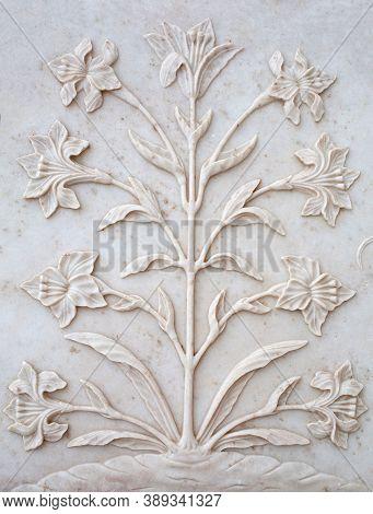 Marble Flowers Bas-relief On Taj Mahal In Agra, Uttar Pradesh, India