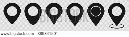 Location Pin Set In Black. Map Pointer On Transparent Background. Place Marker In Different Styles.