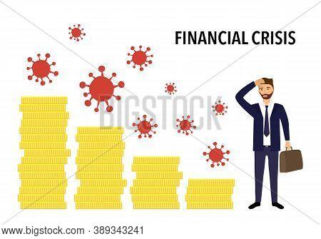 Economy Financial Crisis And Recession In Covid19 Coronavirus Outbreak Concept Vector Illustration O