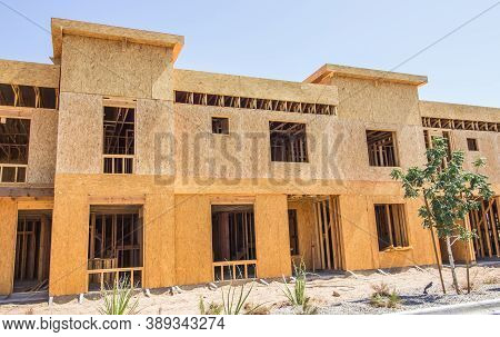 New Two Story Apartments With Interior Stairways Under Construction