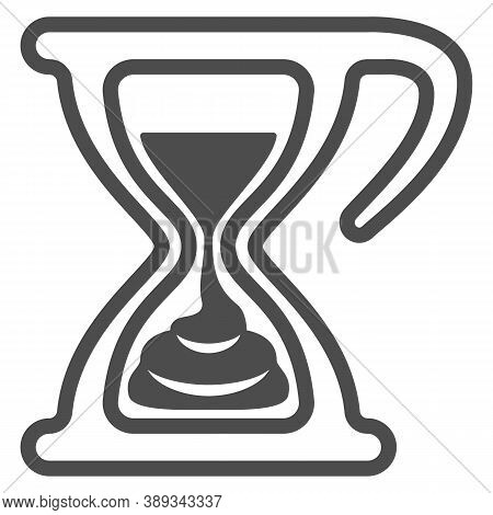 Melting Chocolate In Hourglass Line Icon, Chocolate Festival Concept, Time For Chocolate Sign On Whi