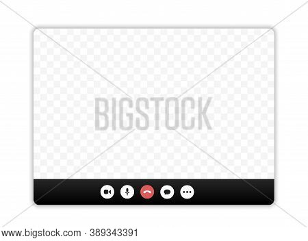 Video Call Screen Template. Video Call Interface. Vector Page Of The Workspace. Application For Soci
