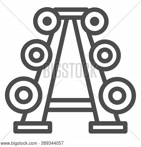 Stand With Dumbbells Line Icon, Gym Concept, Gym Equipment Sign On White Background, Barbell Stand I
