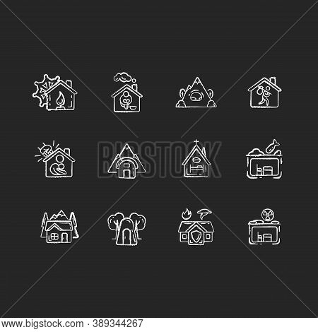 Shelters Types Chalk White Icons Set On Black Background. Building. Safety And Retreat Place. Transi