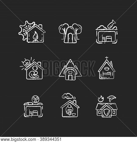 Human Shelters Chalk White Icons Set On Black Background. Temporary Residence For Homeless People. N