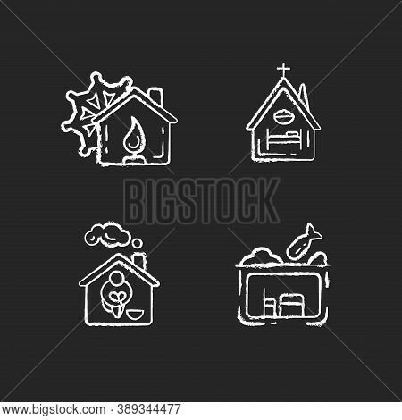 Temporary Supportive Housing Chalk White Icons Set On Black Background. Warming Center. Religious Sh