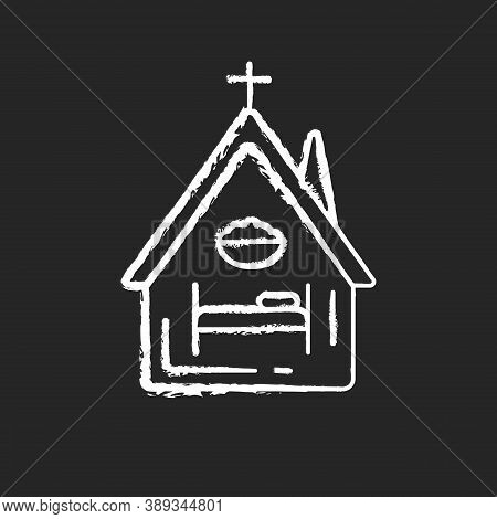Religious Shelter Chalk White Icon On Black Background. Night Time Shelter Opportunity. Church. Syna