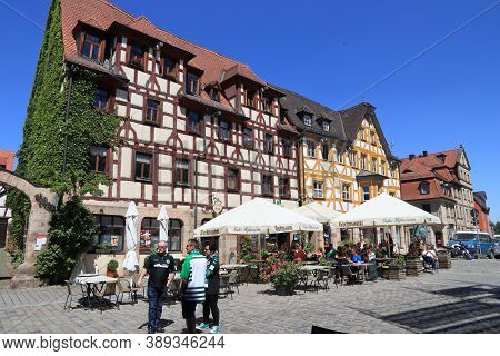 Furth, Germany - May 6, 2018: People Visit Marktplatz (also Known As Gruner Markt) In Furth, Germany