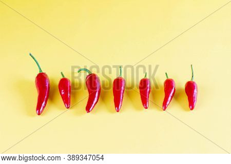Vibrant Red Chili On Yellow Background, Lay Flat. Red Spicy Chili Peppers Wallpaper Pattern