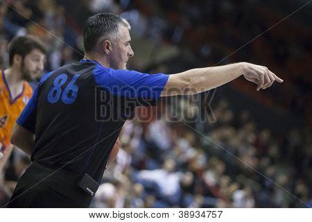 VALENCIA - NOVEMBER 6: Referree during Eurocup Bakestball match between Valencia Basket Club and Banvit BK Bandirma, on November 6, 2012, in La Fonteta Stadium, Valencia, Spain