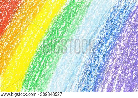 Rainbow crayon strokes, may be used as background.  Colorful hand drawn texture