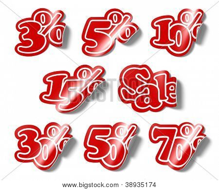 A 3d illustration set template of various stickers percent for sale.