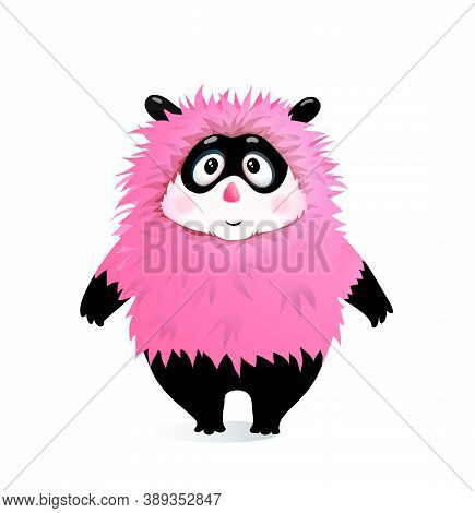 Silly Fluffy Humour Kid Monster Mascot Cartoon For Children And Little Kids. Cute Hairy Vector Chara