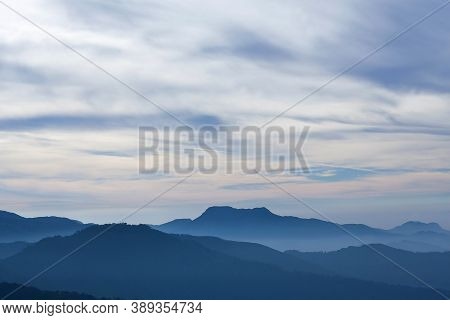 Western Ghat Range Of Mountain At Sunset From Lockhart Gap Road View Point In Munnar, Kerala State,