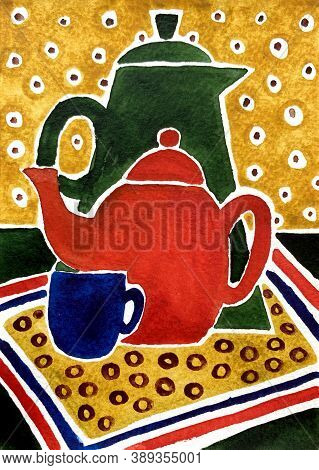 Still Life Illustration Of Drinking Vessels. Hand Drawn Watercolr Painting. Vertical Picture For Kit