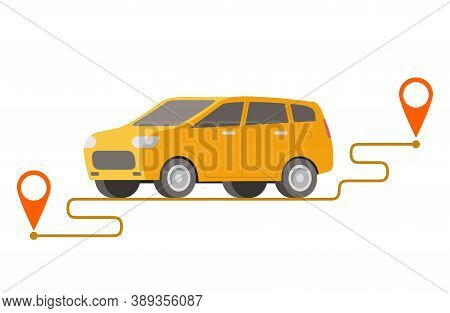 Delivery Car Point To Point.vector Illustration.vehicle Traveling Route Navigation Gps.