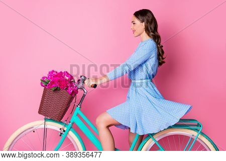Profile Side View Portrait Of Her She Attractive Pretty Cheerful Wavy-haired Lady Riding Bike Travel