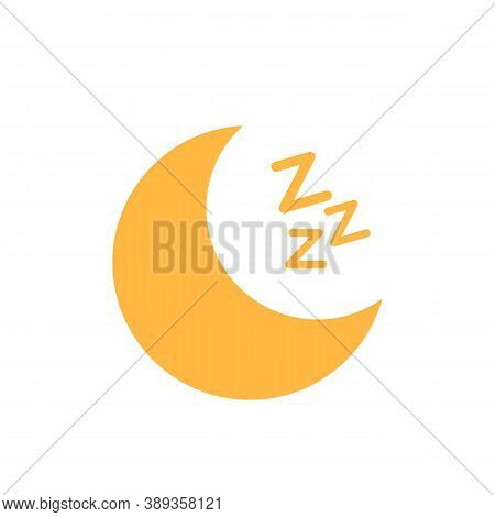 Moon With Zzz Isolated On White Background. Sleep Sign Icon. Sleep Concept. Vector Stock