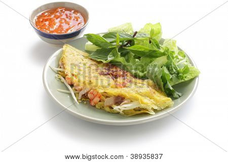 banh xeo, vietnamese crepe, vietnamese crispy pancake, vietnamese cuisine poster