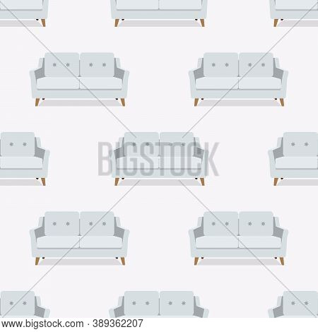 Seamless Pattern. Sofa, Armchair, Couch On White Background. Vector. Colorful Set Furniture In Flat