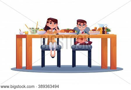 Preschool Children Eat Food Isolated. Vector Boy And Girl Sitting In Chairs At Table, Eating Meal. S