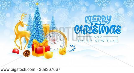 Merry Christmas And Happy New Year. Festive Banner Design With Fluffy Artificial Christmas Trees,  G