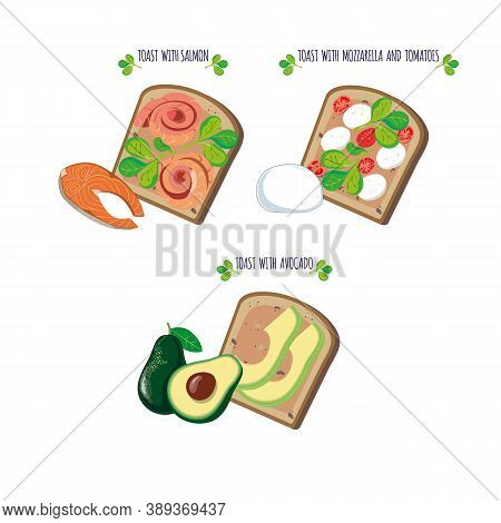 Vector Illustration Of Sandwiches With Avocado, Tomatoes, Mozzarella And Red Fish. Toasts.