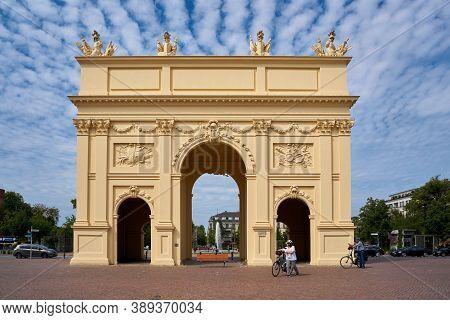 Potsdam, Germany - July 27, 2020: The Brandenburg Gate In The Brandenburger Straße In Potsdam. One O