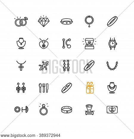 Jewelry Sign Thin Line Icon Set Include Of Ring, Bracelet And Clock. Vector Illustration Of Icons