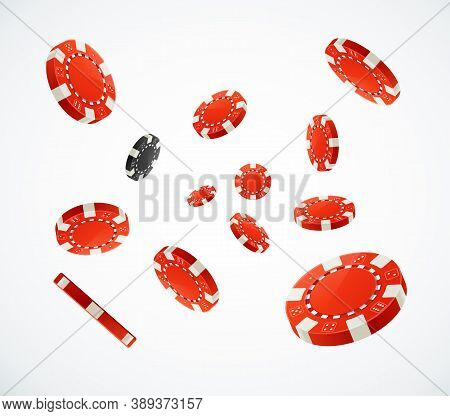 Realistic 3d Detailed Red Poker Chips Flying On A White Symbol Of Casino Gambling Game. Vector Illus