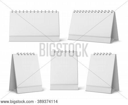Calendar Mockup With Blank Pages And Spiral. Desktop Vertical Paper Calender Mock Up Front And Side