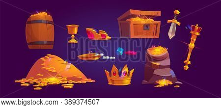 Treasury Icons Of Pile Of Golden Coins, Jewelry And Gem. Vector Cartoon Set Of Treasure Chest, Bag A