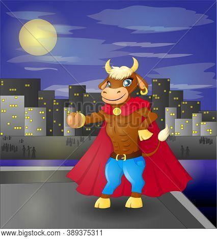 Bull Superhero On Roof: Superhero Watching Over The City. Night City 2021 Symbol Bull.