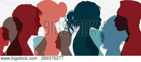 Group Of Multi-ethnic Business Co-workers And Colleagues. Silhouette Of Diversity People Side. Commu