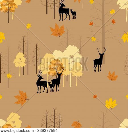 Seamless Autumn Landscape With Reindeer In Forest, Pattern Autumnal Background With Family Deers Wit