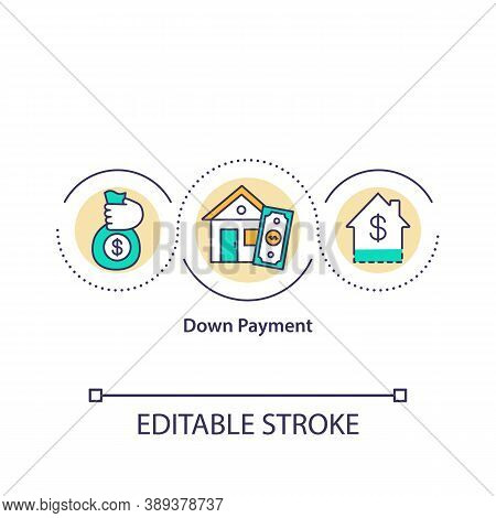 Down Payment Concept Icon. Partial Payment. First Deposit. Financing Arrangements. Total Cost Percen