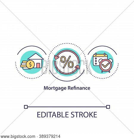 Mortgage Refinance Concept Icon. Lower Interest Rate On Loan. Refinancing Loan. Reduce Rate Idea Thi
