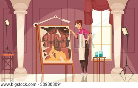 Colored And Flat Artist Restorer Painting Composition Working Process Of Creative Person Vector Illu