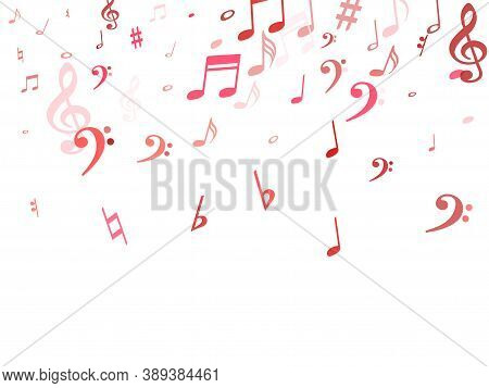 Red Flying Musical Notes Isolated On White Background. Purple Musical Notation Symphony Signs, Notes