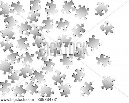 Business Brainteaser Jigsaw Puzzle Metallic Silver Parts Vector Illustration. Group Of Puzzle Pieces