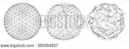 Set Of Abstract Spheres Of Multiple Points And Lines. Disintegration Of The Sphere. Globe Or Ball. D