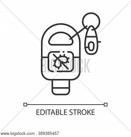 Keyring Sanitizer Linear Icon. Keychain Holder For Tube With Liquid Soap. Virus Precaution. Thin Lin