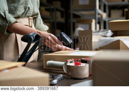 Female Seller Online Store Worker Holding Scanner Scanning Parcel Bar Code Packing E Commerce Post S