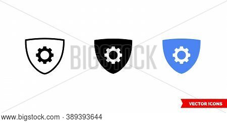 Security Configuration Icon Of 3 Types Color, Black And White, Outline. Isolated Vector Sign Symbol.