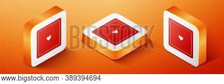 Isometric Ethernet Socket Sign. Network Port - Cable Socket Icon Isolated On Orange Background. Lan