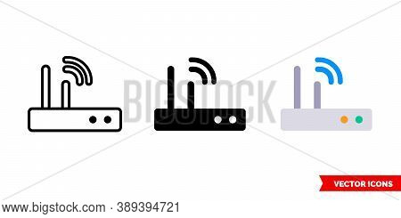 Wi-fi Router Icon Of 3 Types Color, Black And White, Outline. Isolated Vector Sign Symbol.