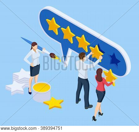 Isometric Customer Review Or Feedback Concept. Online Survey Of Customer Satisfaction, Election Voti